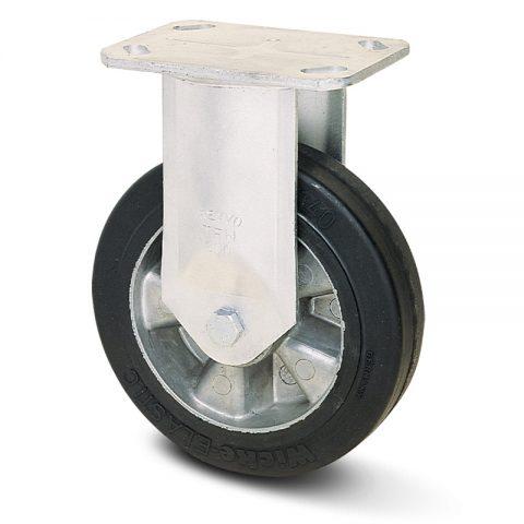 Fiksni točak za kolica  125mm sa Elastična crna guma , felna od aluminijum i kuglični ležajevi.Montaža sa gornja ploča