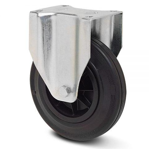 Fiksni točak za kolica 200mm sa crna guma, felna od poliamid i osovina kliznog ležaja.Montaža sa gornja ploča