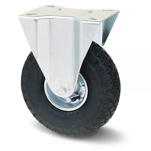 Fiksni točak za kolica  200mm sa pneumatska crna guma sa nosač od presovanog čelika  i valjkasti ležaj.Montaža sa gornja ploča