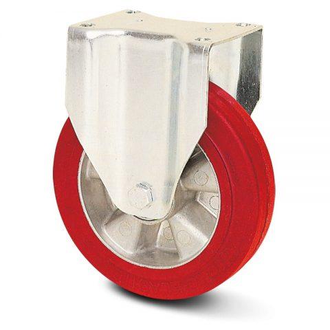 Fiksni točak za kolica  250mm sa elastični poliuretan, felna od aluminijum i kuglični ležajevi.Montaža sa gornja ploča