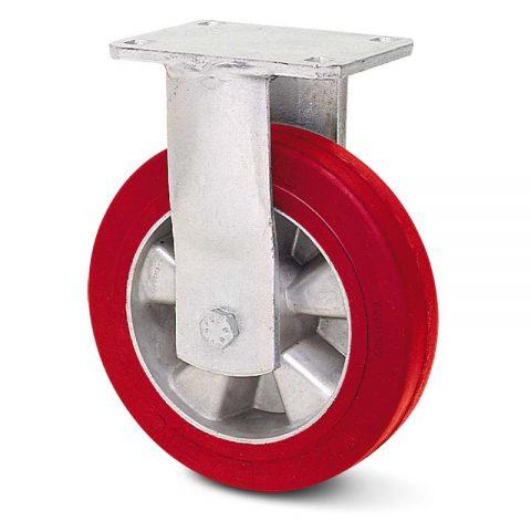 Fiksni točak za teške uslove  180mm sa elastični poliuretan, felna od aluminijum i kuglični ležajevi.Montaža sa gornja ploča