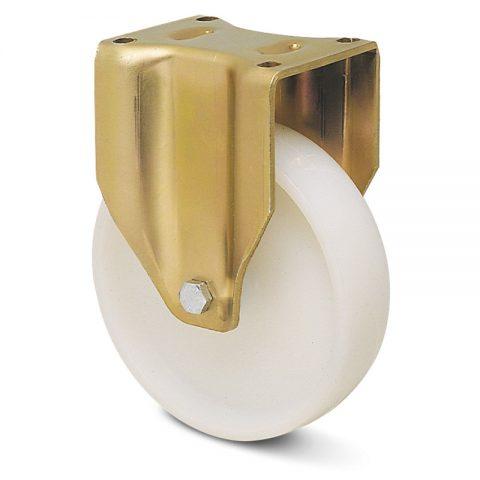 Fiksni točak za teške uslove  100mm sa poliamid tip 6 osovina kliznog ležaja.Montaža sa gornja ploča