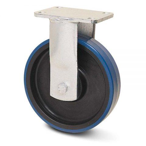 Fiksni točak za teške uslove  125mm sa poliuretan, felna od poliamid i kuglični ležajevi.Montaža sa gornja ploča