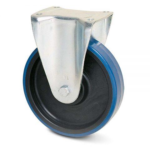 Fiksni točak za kolica  125mm sa poliuretan, felna od poliamid i valjkasti ležaj.Montaža sa gornja ploča