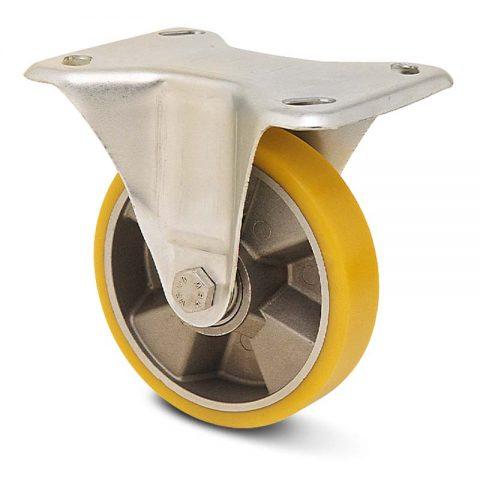 Fiksni točak za kolica  100mm sa poliuretan, felna od aluminijum i kuglični ležajevi.Montaža sa gornja ploča