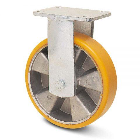Fiksni točak za teške uslove  200mm sa poliuretan, felna od aluminijum i kuglični ležajevi.Montaža sa gornja ploča