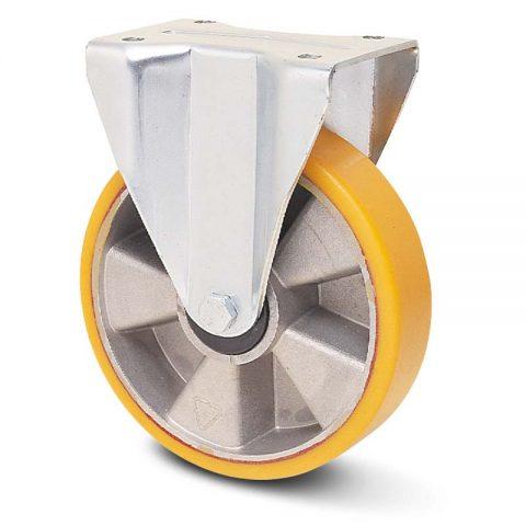 Fiksni točak za teške primene  180mm sa poliuretan, felna od aluminijum i kuglični ležajevi.Montaža sa gornja ploča