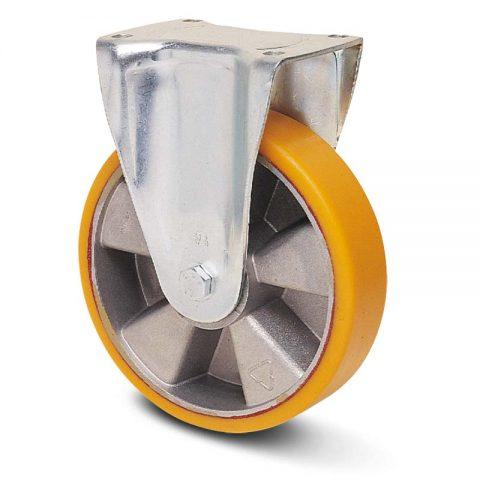 Fiksni točak za kolica  150mm sa poliuretan, felna od aluminijum i kuglični ležajevi.Montaža sa gornja ploča