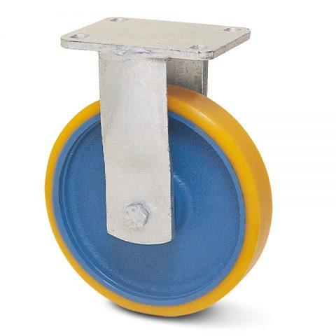 Fiksni točak za teške uslove  300mm sa poliuretan, felna od liveno gvožđe i kuglični ležajevi.Montaža sa gornja ploča