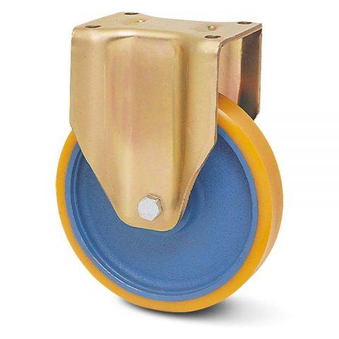 Fiksni točak za teške uslove  200mm sa poliuretan, felna od liveno gvožđe i kuglični ležajevi.Montaža sa gornja ploča
