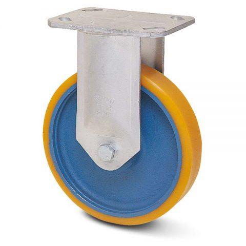 Fiksni točak serije G  100mm sa poliuretan, felna od liveno gvožđe i kuglični ležajevi.Montaža sa gornja ploča
