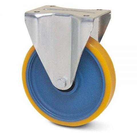 Fiksni točak za teške primene  80mm sa poliuretan, felna od liveno gvožđe i kuglični ležajevi.Montaža sa gornja ploča