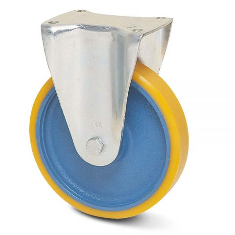 Fiksni točak za kolica  125mm sa poliuretan, felna od liveno gvožđe i kuglični ležajevi.Montaža sa gornja ploča